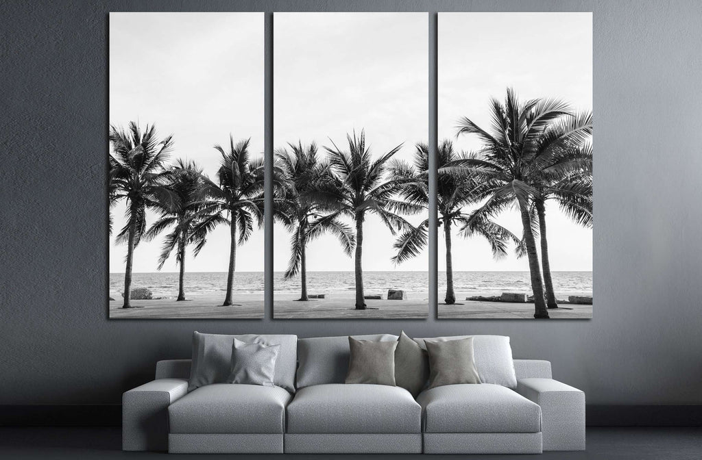 Black white view of beautiful beach with palms thailand №2848 ready to hang
