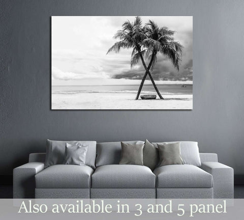 Black & White view of Beautiful beach with palms, Thailand №2863 Ready to Hang Canvas Print