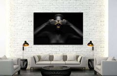 black woman closes her eyes. №2469 Framed Canvas Print