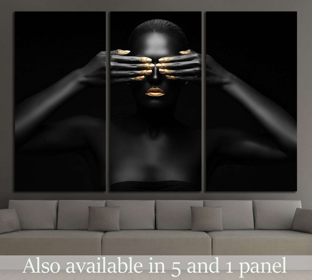 black woman closes her eyes. №2469 Ready to Hang Canvas Print