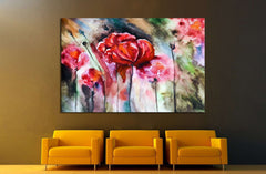 Blossoming poppy drawn by water color №1334 Ready to Hang Canvas Print