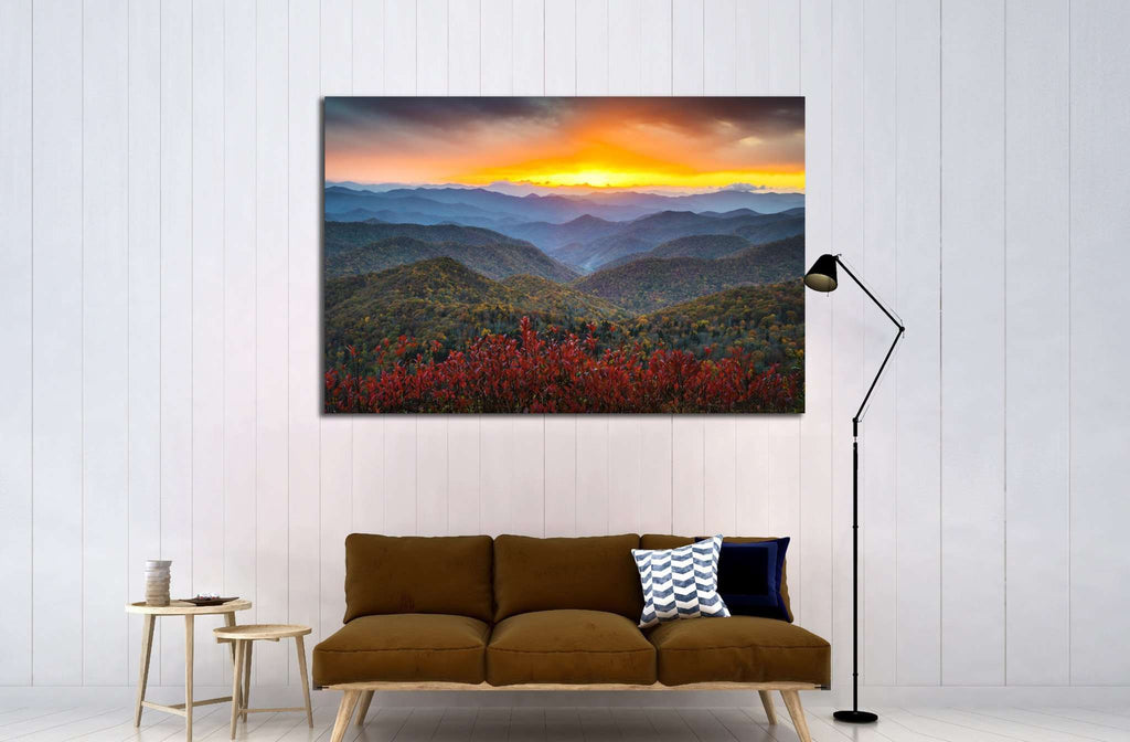 Blue Ridge Parkway Appalachian Mountains Sunset Western NC Scenic Landscape №1963 Ready to Hang Canvas Print