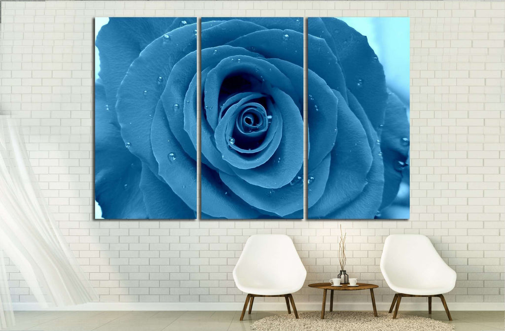 Blue rose in rain - Flower of red rose under a deform glass №2570 Ready to Hang Canvas Print