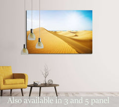 Blue sky and sand dunes. Canary islands, Maspalomas. The sea on the horizon. №3077 Ready to Hang Canvas Print