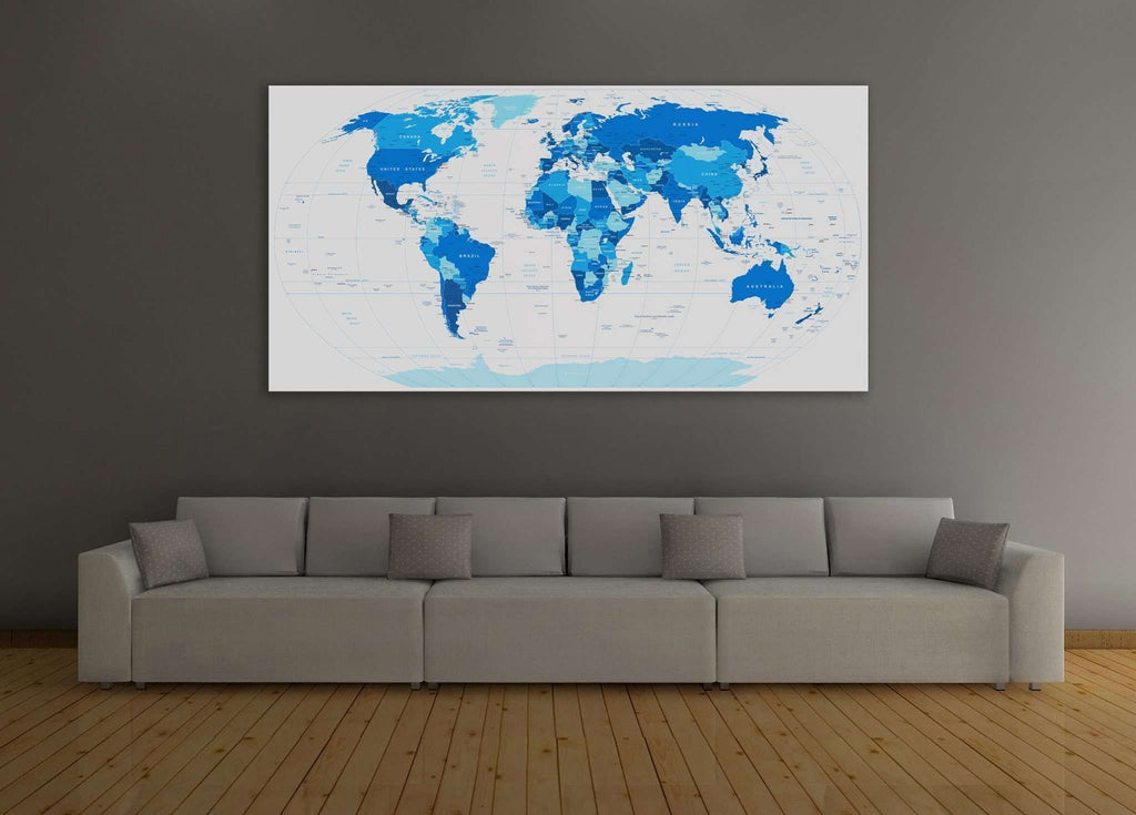 Blue world map 102 ready to hang canvas print zellart blue world map 102 ready to hang canvas print gumiabroncs Images