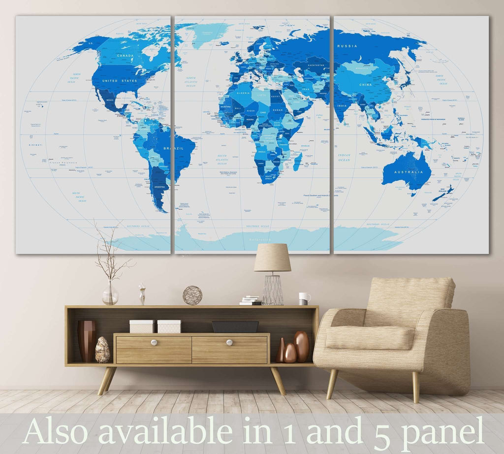 Blue World Map №102 Ready to Hang Canvas Print