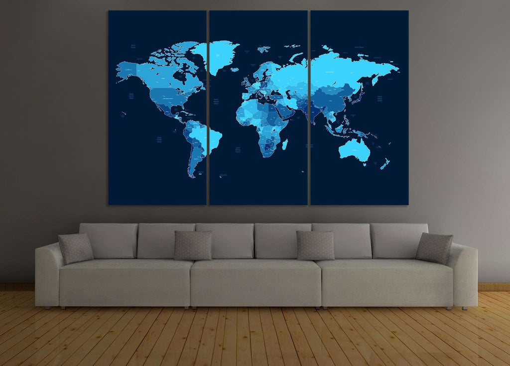 Blue World Map №104 Ready to Hang Canvas Print
