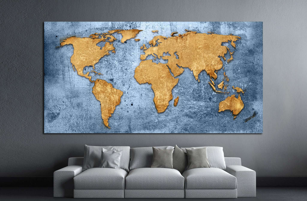 Blue World Map №1489 Framed Canvas Print