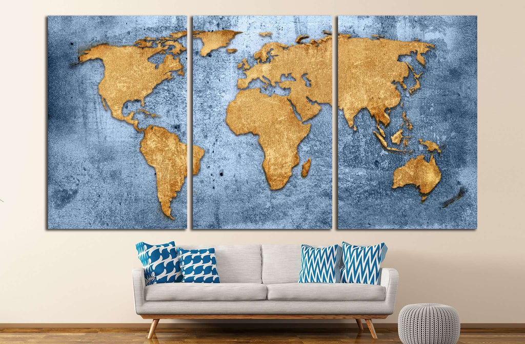 Blue World Map №1489 Ready to Hang Canvas Print