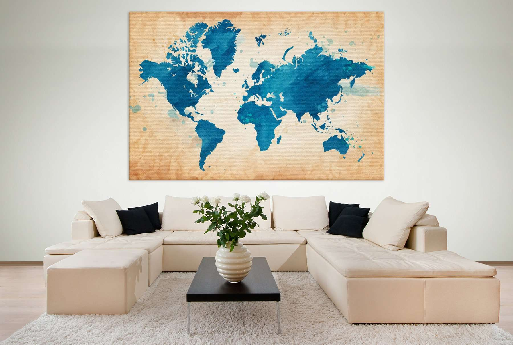 Blue World Map №703 Ready to Hang Canvas Print