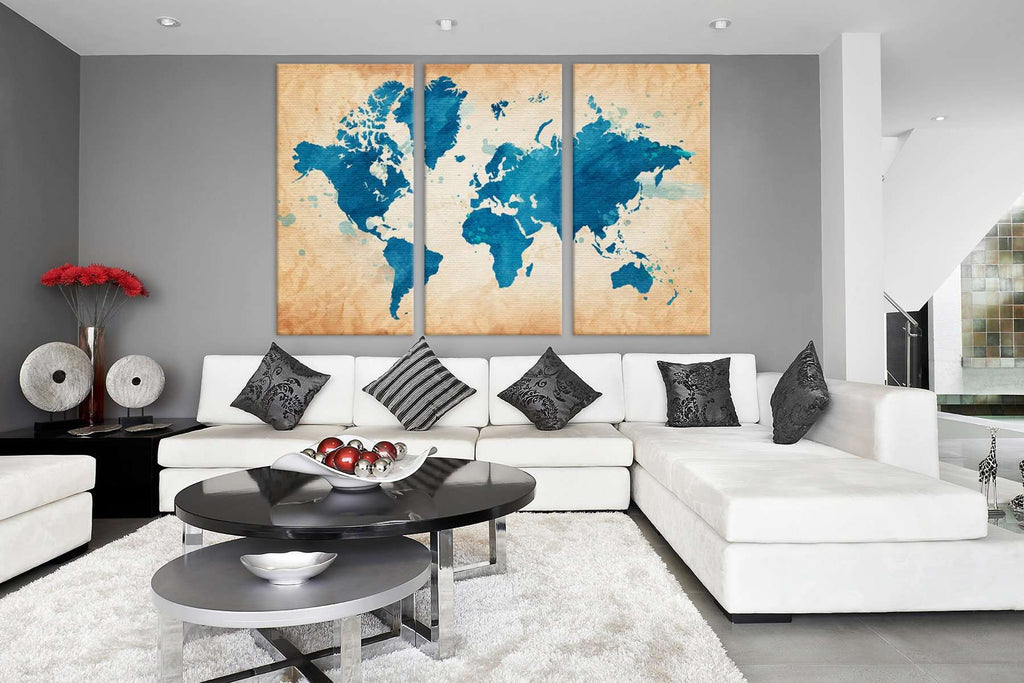 Blue World Map №703 Canvas Print