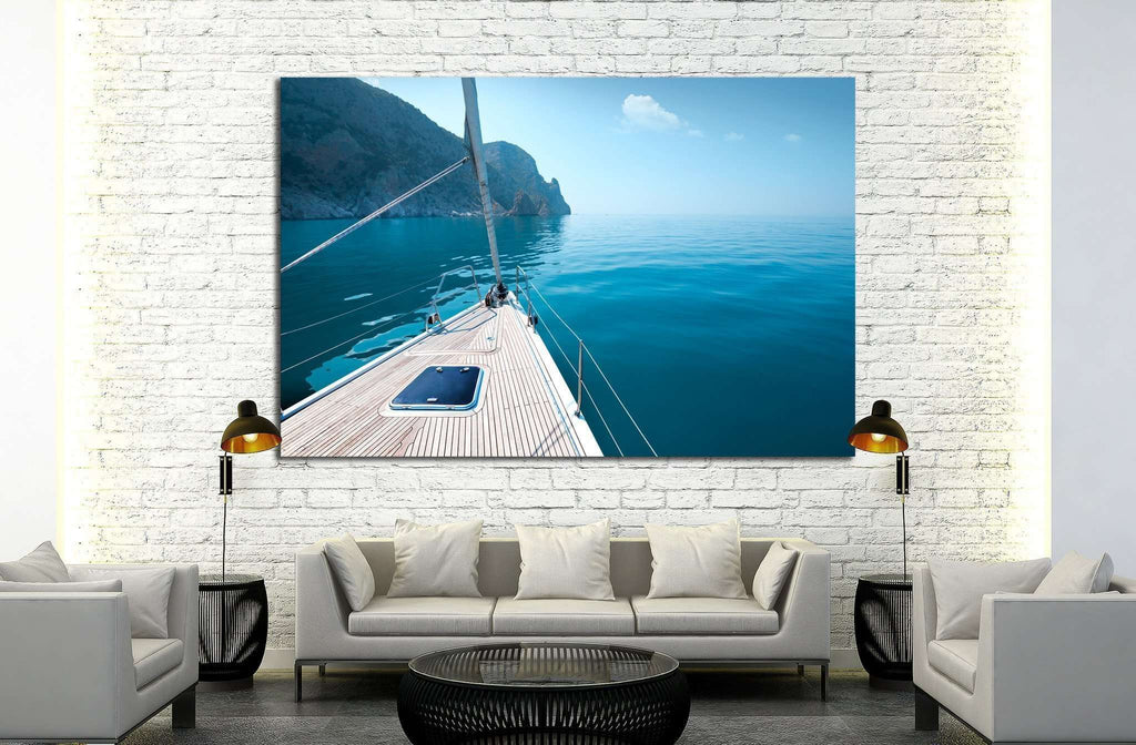 boat floats near the shore №1407 Ready to Hang Canvas Print