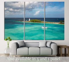 Boat. Lighthouse. Paradise Island. Nassau. Bahamas №3104 Ready to Hang Canvas Print