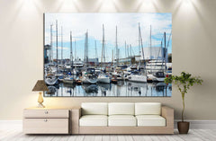 boats at the pier in barselona №1303 Ready to Hang Canvas Print