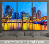 Boston Harbor and Financial District at twilight in Boston, Massachusetts №1684 Ready to Hang Canvas Print