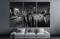 Boston Harbor at night in Black and White. Massachusetts, USA №2143 Ready to Hang Canvas Print
