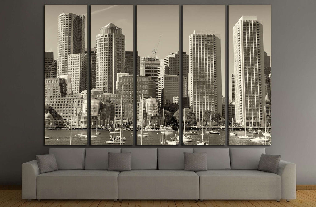Boston skyline from the sea №2204 Ready to Hang Canvas Print