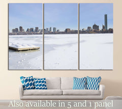 boston skyline in the winter №1127 Ready to Hang Canvas Print