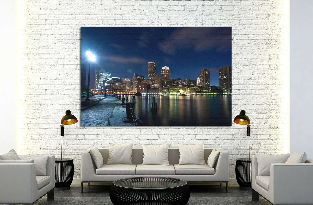 Boston's waterfront area at night №1140 Ready to Hang Canvas Print
