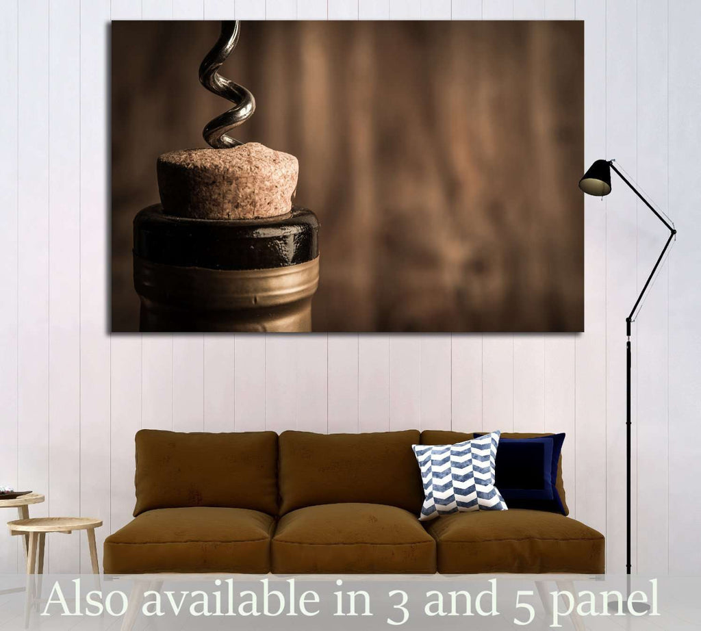 Bottle of wine with corkscrew on wooden background №1922 Ready to Hang Canvas Print
