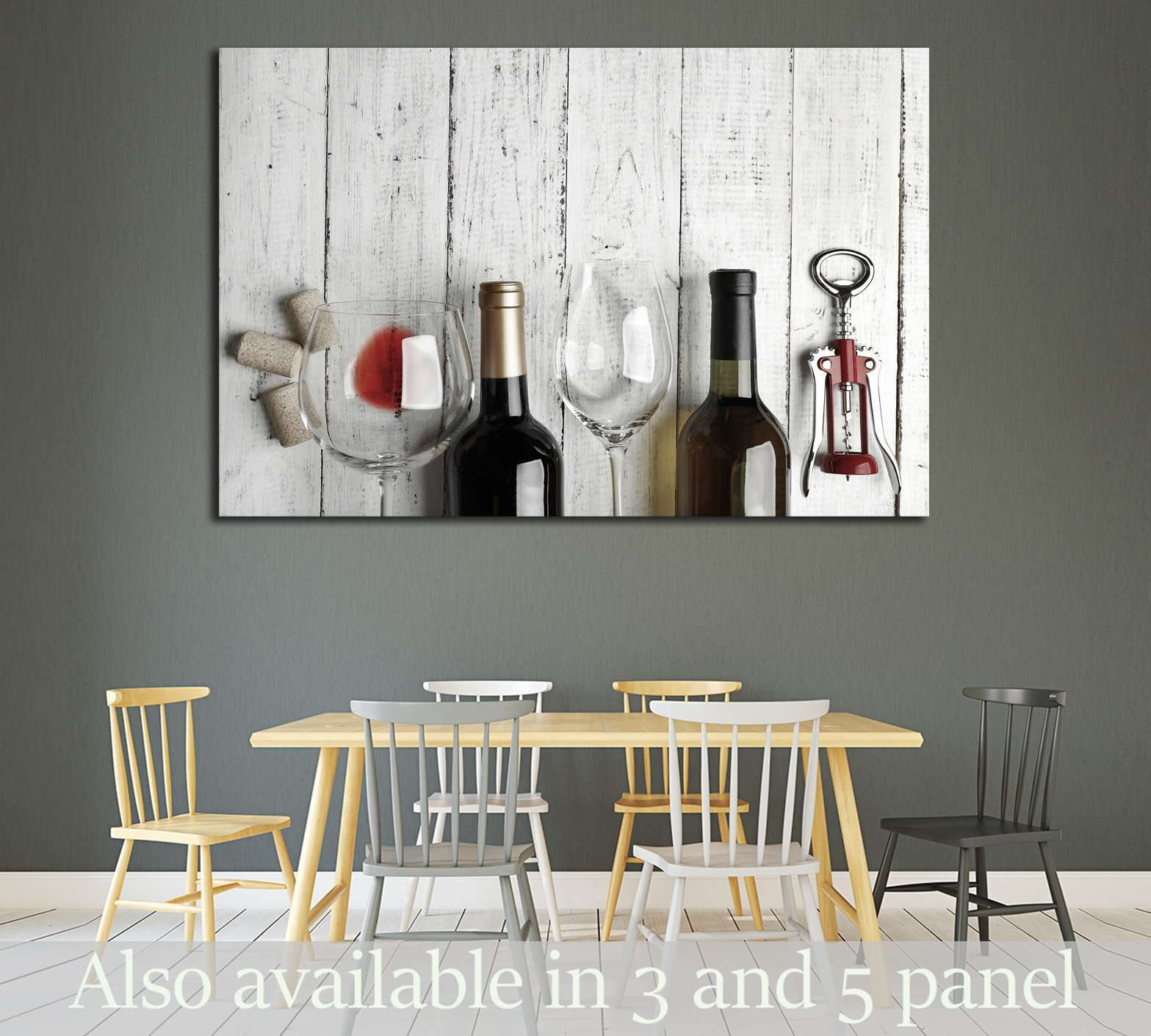 Bottles of wine, glass and corkscrew on wooden table №1919 Ready to Hang Canvas Print