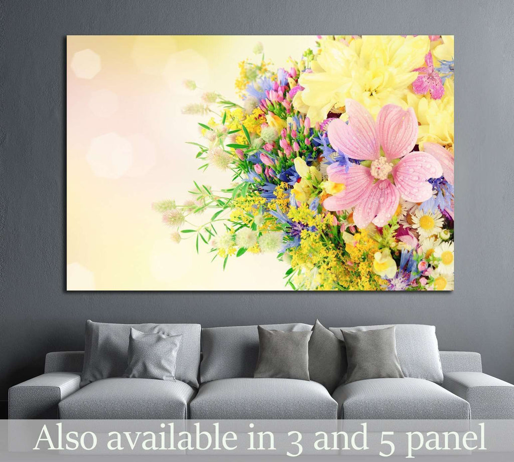 Bouquet of summer flowers with bokeh №1340 Ready to Hang Canvas ...