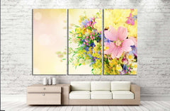 Bouquet of summer flowers with bokeh №1340 Ready to Hang Canvas Print