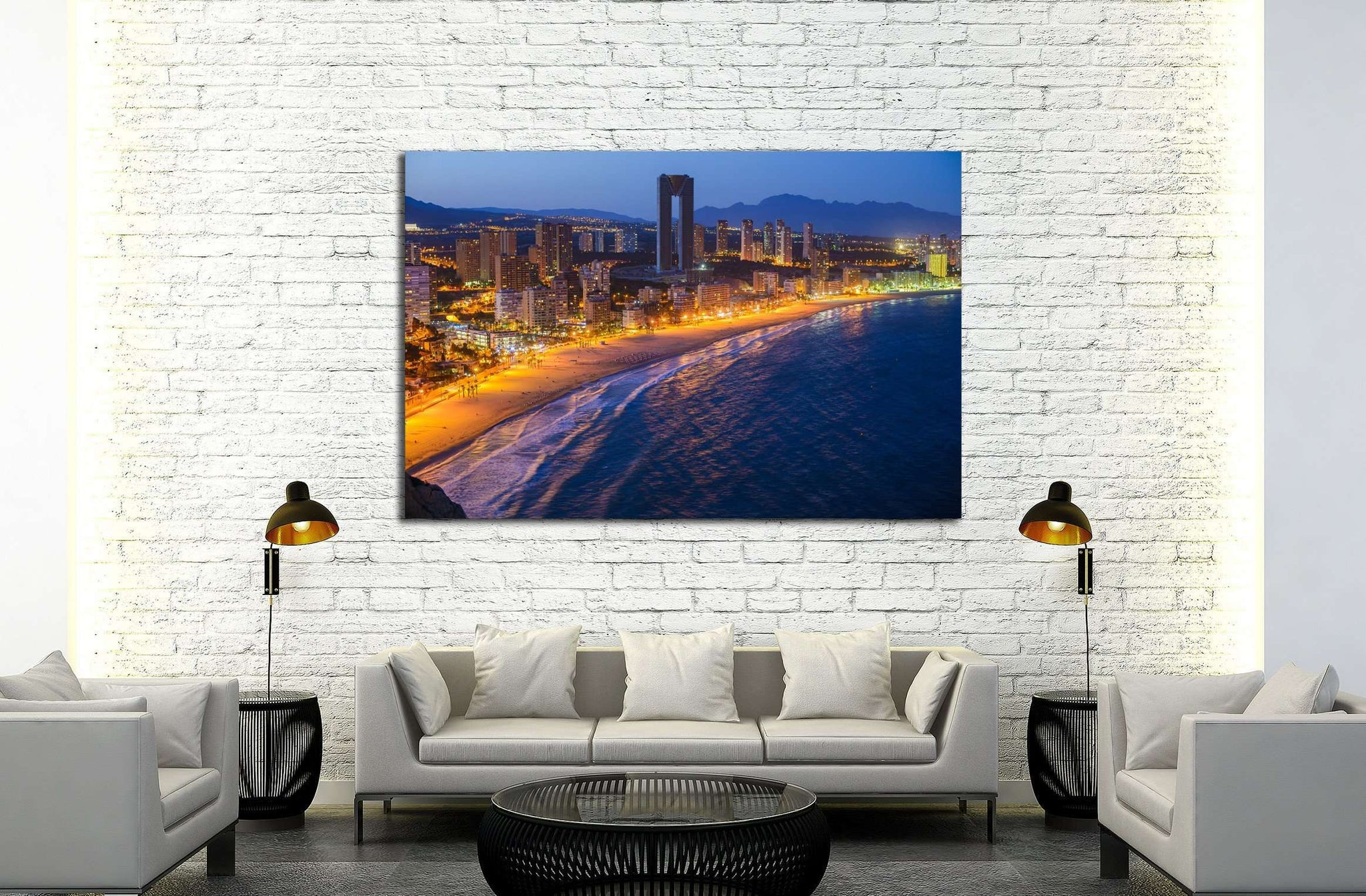 Breathtaking night view of the coastline in Benidorm with high buildings, mountains, sea and city lights №2209 Ready to Hang Canvas Print
