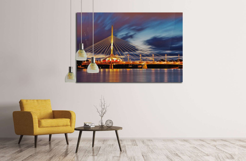 Bridge at night №2154 Framed Canvas Print