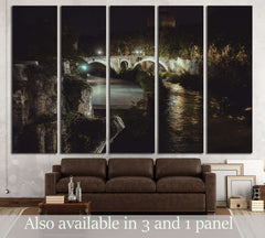 bridge in historical center of Rome, Italy from top of the hill at night circa №2966 Ready to Hang Canvas Print