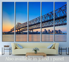Bridge on the Mississippi river and downtown New Orleans Louisiana №1728 Ready to Hang Canvas Print
