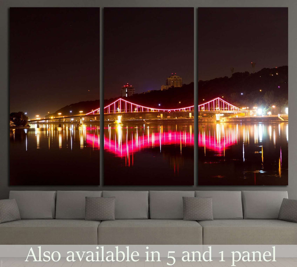 Bright bridge over the river, Ukraine №814 Ready to Hang Canvas Print