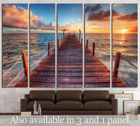 Brilliant sunrise on a sea pier with azure waters №1816 Ready to Hang Canvas Print