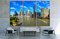 Brisbane River and City №3008 Ready to Hang Canvas Print