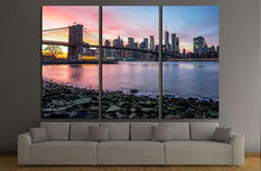 Brooklyn Bridge and Downtown Manhattan view from Brooklyn Bridge Park at sunset №2941 Ready to Hang Canvas Print