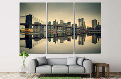 Brooklyn bridge and Manhattan at dusk, New York City №2900 Ready to Hang Canvas Print
