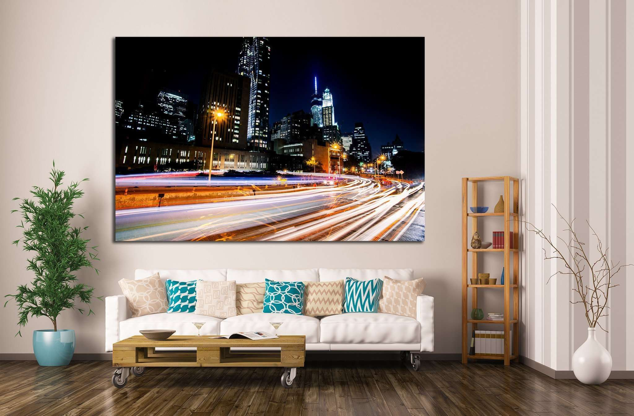 New York, Manhattan night scene №797 Ready to Hang Canvas Print