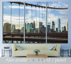 Brooklyn Bridge Wires with Manhattan Skyline background №2954 Ready to Hang Canvas Print