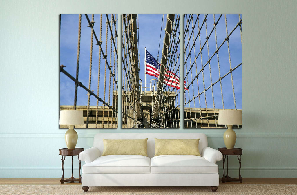 Brooklyn bridge with the american flag №1204 Ready to Hang Canvas Print