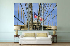 Brooklyn bridge with the american flag №1204 Framed Canvas Print