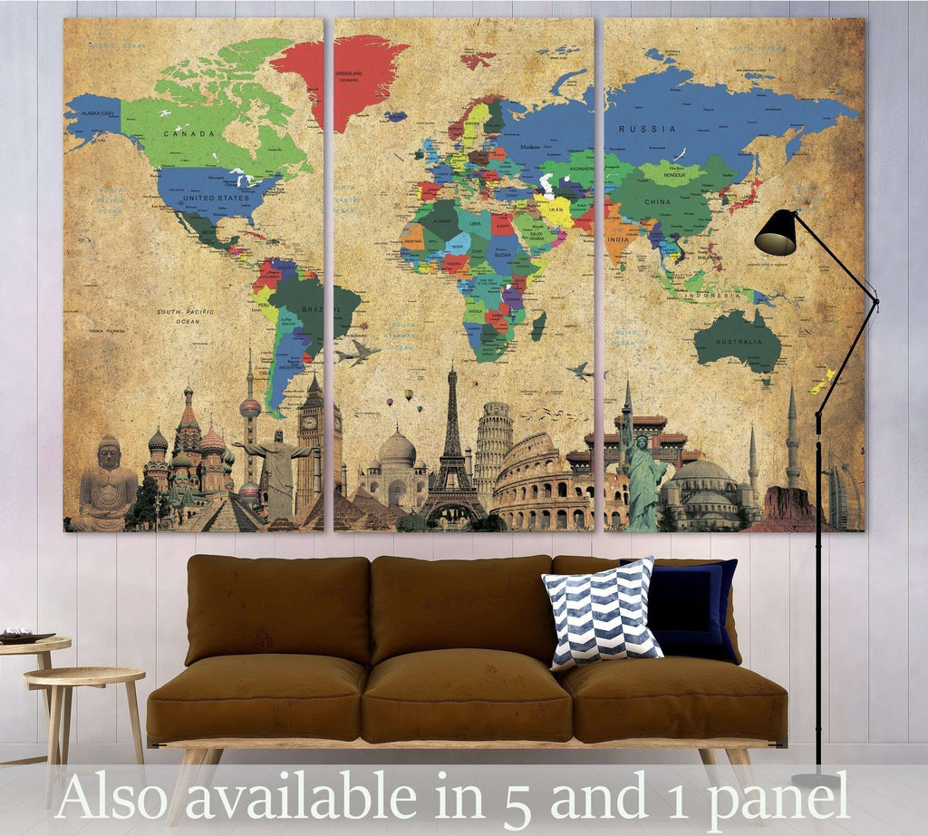 Brown world map 3027 ready to hang canvas print zellart next gumiabroncs Gallery