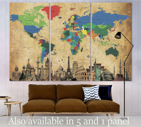 Brown World Map №3027 Ready to Hang Canvas Print