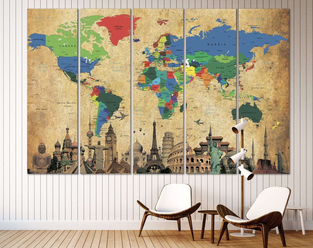 Brown World Map №3027 Ready to Hang Canvas Print – Zellart