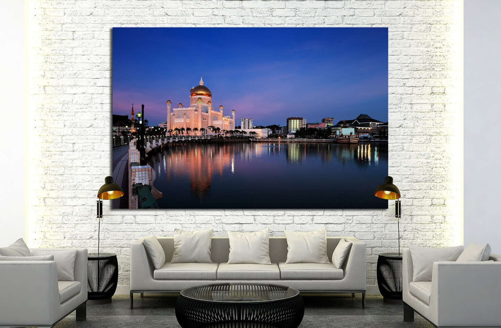 Brunei's capital Bandar Seri Begawan is Sultan Omar Ali Saifuddien Mosque №1749 Ready to Hang Canvas Print