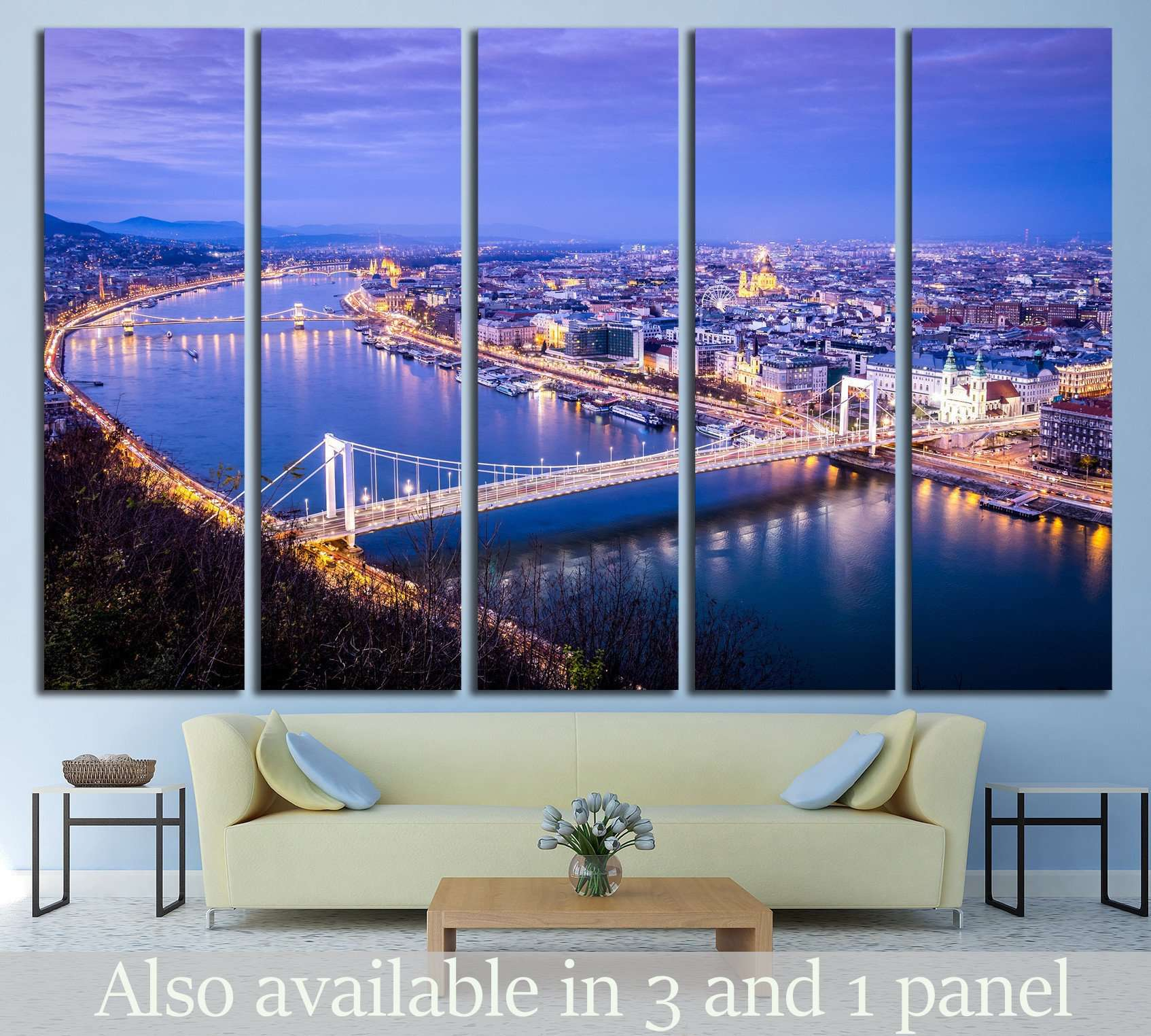 Budapest cityscape, Gellert Hill, Hungary №1201 Ready to Hang Canvas Print