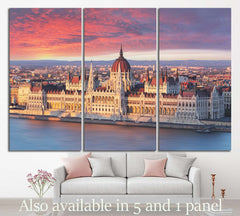 Budapest parliament at dramatic sunrise №1136 Ready to Hang Canvas Print