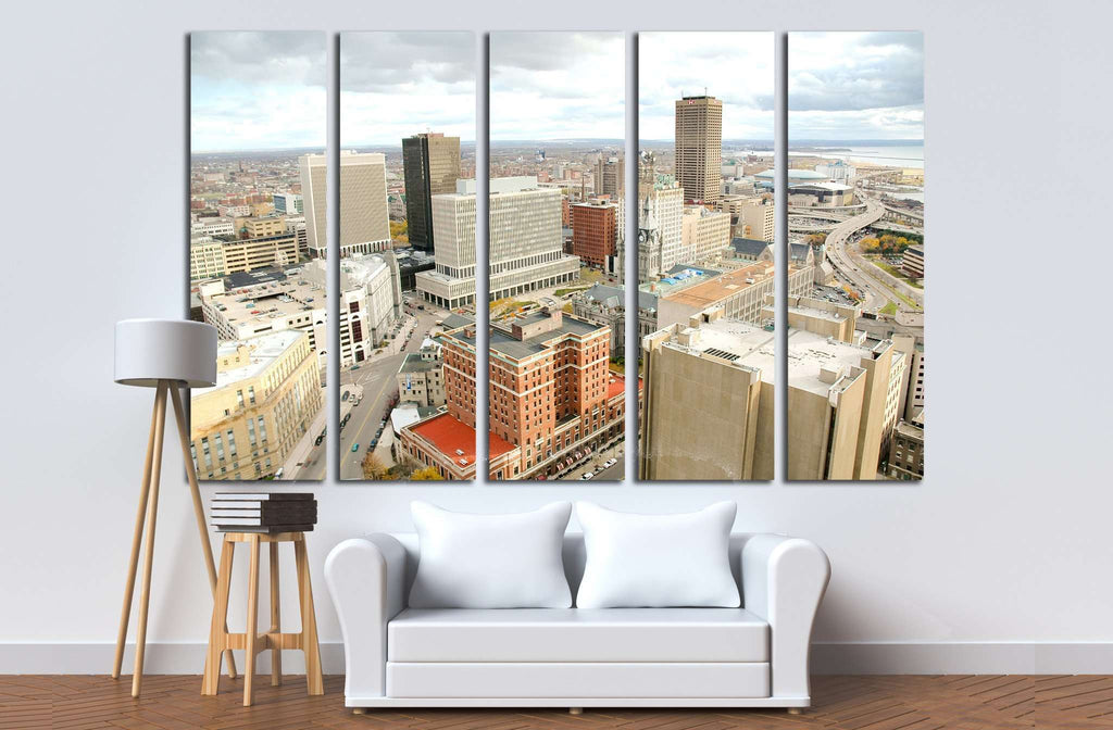 Buffalo skyline from the city hall observation deck №1682 Ready to Hang Canvas Print