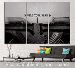 BUILD YOUR BRAND typed words on a vintage typewriter №3020 Ready to Hang Canvas Print