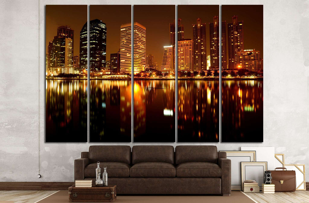 Building at night №1429 Ready to Hang Canvas Print