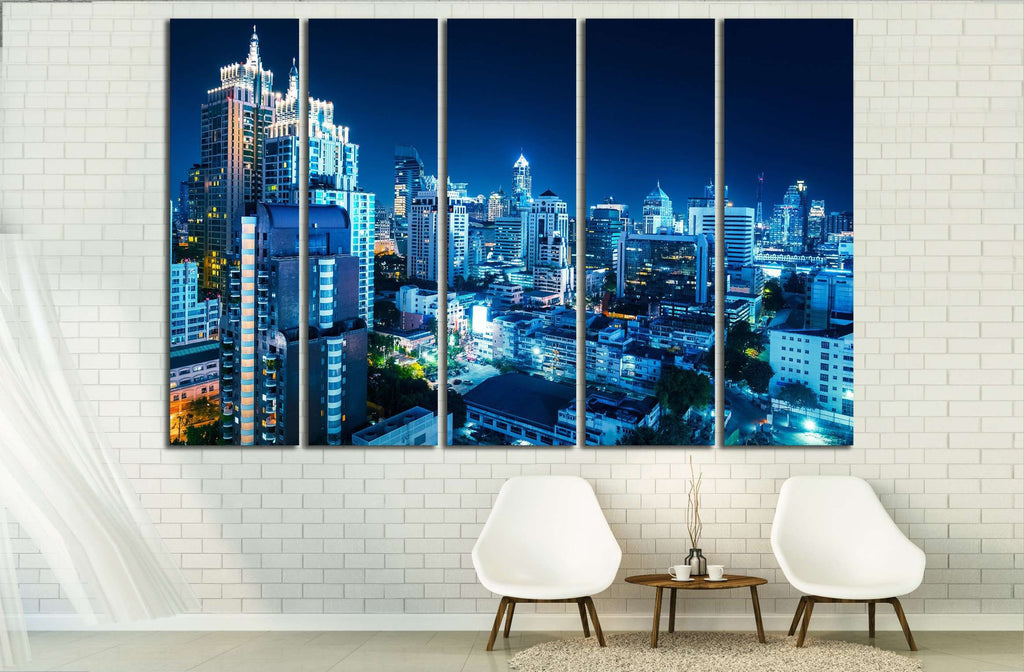 Buildings of the city of Bangkok at night. Thailand №2323 Ready to Hang Canvas Print